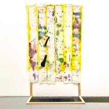 Joy, acrylic on cotton, contact plastic, wood, 220x130, 2019. Photo: TM Gallery, Helsinki, 2019.